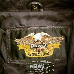 Womens Harley Davidson Motorcycle Black Leather Riding Jacket Size XL