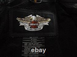 Womens Harley Davidson SHIFTER Embossed Black Leather Jacket Sz Large 98136-03VW