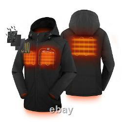 Womens Heated Battery Jacket Outdoor Cordless Heat Coat Motorcycle Winterwear