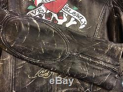 Womens Rare ED HARDY'Love Kills Slowly-NY Distressed Leather Moto Jacket, Sz M