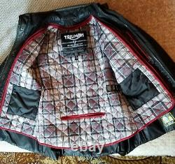 Womens Triumph Barbour Leather and Fabric Motorcycle Riding Jacket (XS/small)