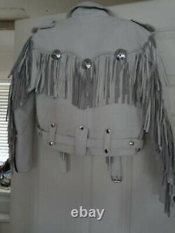 Womens Vintage White Leather Motorcycle Biker Jacket Fringe Vtg. Medium