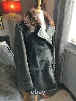 Ww2 Horsehide Jacket Mats Larsson Swedish Army Military Parka Sheepskin Coat 42