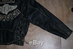 XL Indian Motorcycle Leather Jacket Black Vintage Biker Heavy Duty Authentic