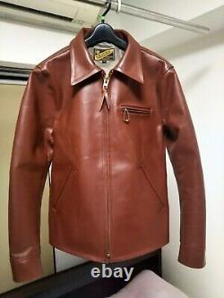Y'2 LEATHER Single Riders Jacket Blouson Brown Cowhide Biker Men's 40 From Japan
