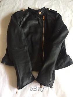ZARA Black Biker Moto Leather Jacket Sz XL